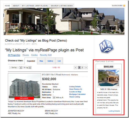myRealPage Listing Showcase: Featured Listing